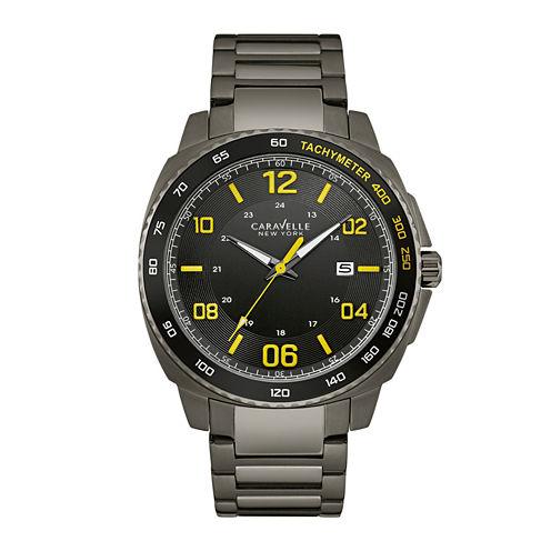 Caravelle New York® Mens Black Stainless Steel Watch 45B143