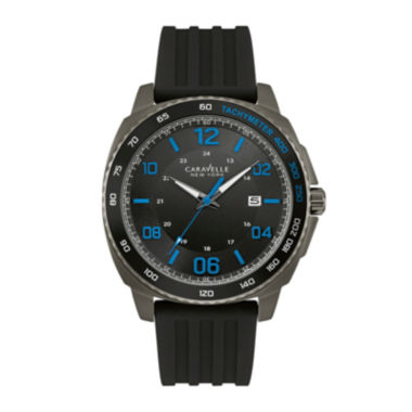 jcpenney.com | Caravelle New York® Mens Black Silicone Strap Watch 45B144