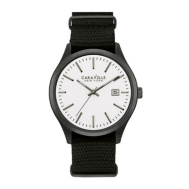 jcpenney.com | Caravelle New York® Mens Black Nylon Fast Strap Watch 45B142