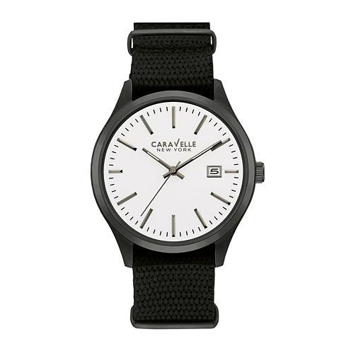 Caravelle New York® Mens Black Nylon Fast Strap Watch 45B142