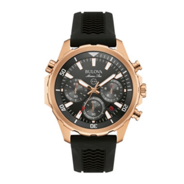 jcpenney.com | Bulova® Marine Star Mens Black Silicone Strap Chronograph Watch 97B153