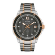 Bulova® Marine Star Mens Diamond-Accent Two-Tone Stainless Steel Watch 98D127