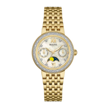 jcpenney.com | Bulova® Diamonds Womens Diamond-Accent Moon Phase Gold-Tone Stainless Steel Bracelet Watch 98R224