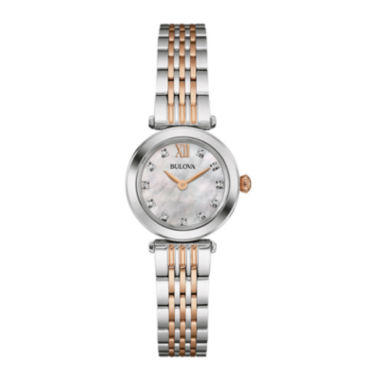 jcpenney.com | Bulova® Womens Diamond-Accent Two-Tone Stainless Steel Bracelet Watch 98P156