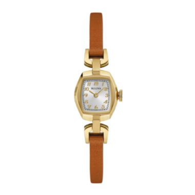jcpenney.com | Bulova® Classic Womens Tonneau Brown Leather Strap Watch 97L153