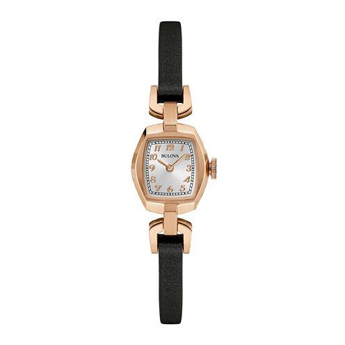 Bulova® Classic Womens Tonneau Dark Brown Leather Strap Watch 97L154