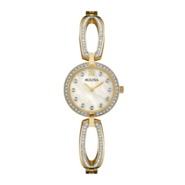 jcpenney.com | Bulova® Womens Crystal-Accent Mother-of-Pearl Stainless Steel Bracelet Watch