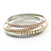 nicole by Nicole Miller® Glass Crystal Tri-Tone Set of 4 Bangle Bracelets