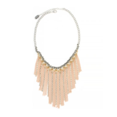 jcpenney.com | nicole by Nicole Miller® Crystal Tri-Tone Chain Fringe Bib Necklace
