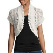 Perceptions Short-Sleeve Crochet Bolero Shrug