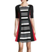 Robbie Bee® Elbow-Sleeve Stripe Fit-and-Flare Dress