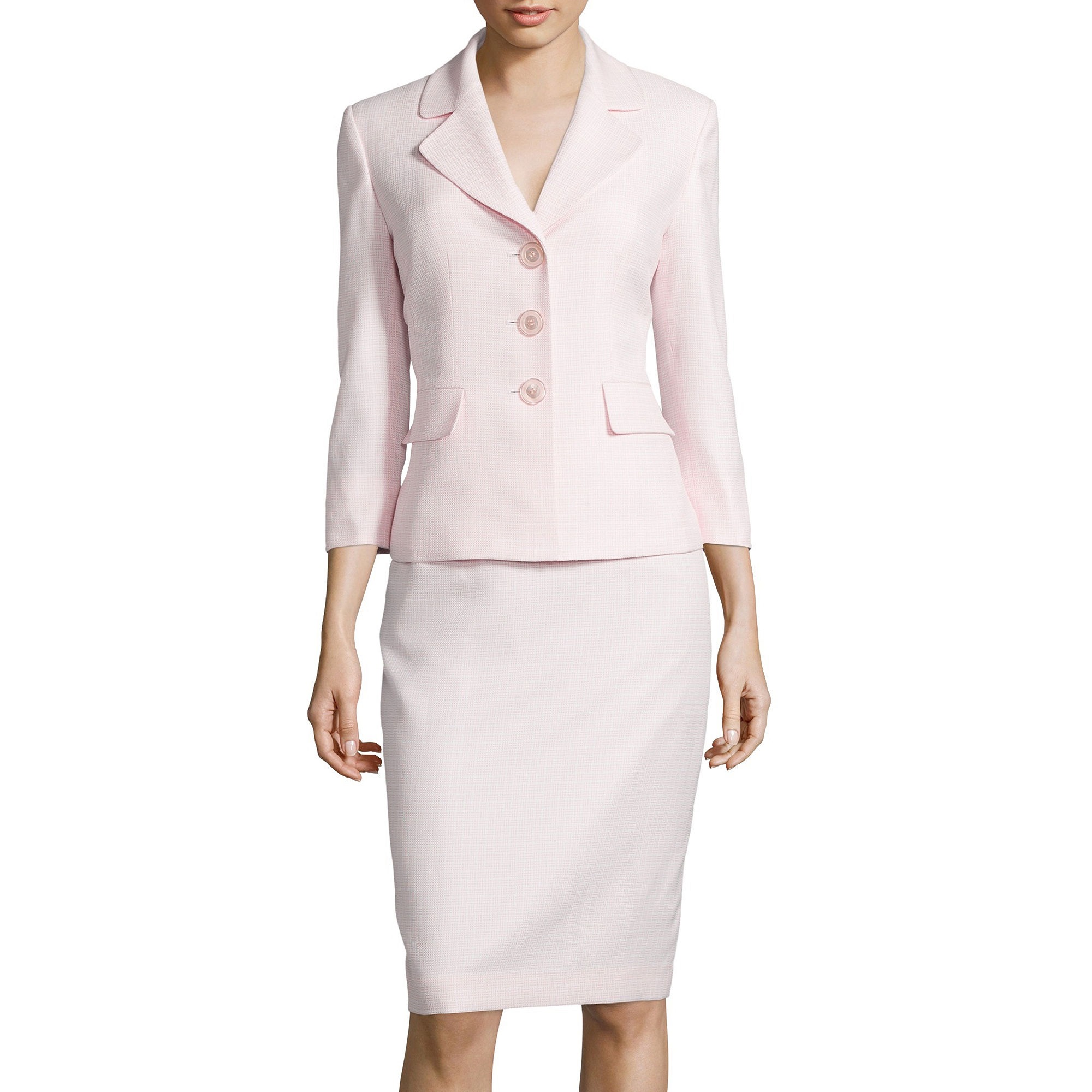 Le Suit 3/4-Sleeve Tweed Skirt Suit Set plus size,  plus size fashion plus size appare