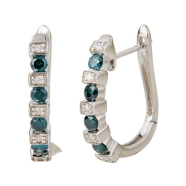 jcpenney.com | LIMITED QUANTITIES 1/2 CT. T.W. White and Color-Enhanced Blue Diamond Hoop Earrings