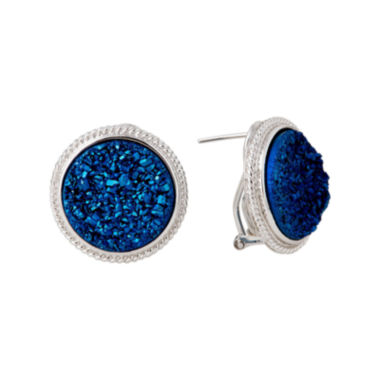 jcpenney.com | LIMITED QUANTITIES  Blue Drusy Agate Sterling Silver Button Earrings