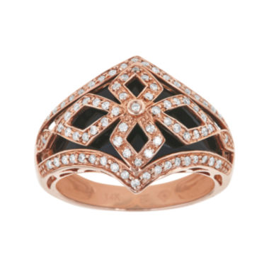 jcpenney.com | LIMITED QUANTITIES  Genuine Onyx and 3/8 CT. T.W. Diamond 14K Rose Gold Dome Ring
