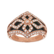 Genuine Onyx and 3/8 CT. T.W. Diamond 14K Rose Gold Dome Ring