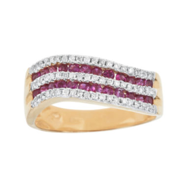 jcpenney.com | LIMITED QUANTITIES  Lead Glass-Filled Pink Ruby and 1/4 CT. T.W. Diamond Wave Ring