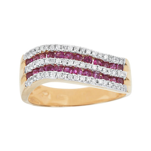 LIMITED QUANTITIES  Lead Glass-Filled Pink Ruby and 1/4 CT. T.W. Diamond Wave Ring