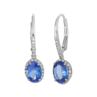 jcpenney.com | LIMITED QUANTITIES  Genuine Tanzanite and 1/5 CT. T.W. Diamond White Gold Earrings