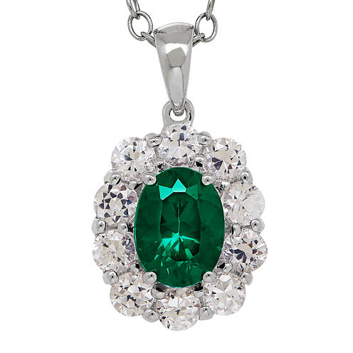 Lab-Created Emerald & White Sapphire Sterling Silver Pendant Necklace