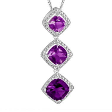 jcpenney.com | Genuine Amethyst and Diamond Accent Sterling Silver Pendant Necklace