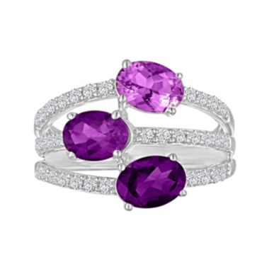 jcpenney.com | Genuine Amethyst and Lab-Created White Sapphire Sterling Silver Ring