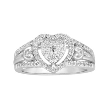 jcpenney.com | I Said Yes™ 1/2 CT. T.W. Diamond Heart-Shaped 10K White Gold Bridal Ring