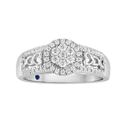 I Said Yes™ 1/3 CT. T.W. Diamond Flower-Shaped Platinaire® Bridal Ring