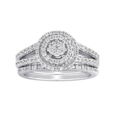 jcpenney.com | I Said Yes™ 5/8 CT. T.W. Diamond Double-Halo Platinaire® Bridal Ring Set