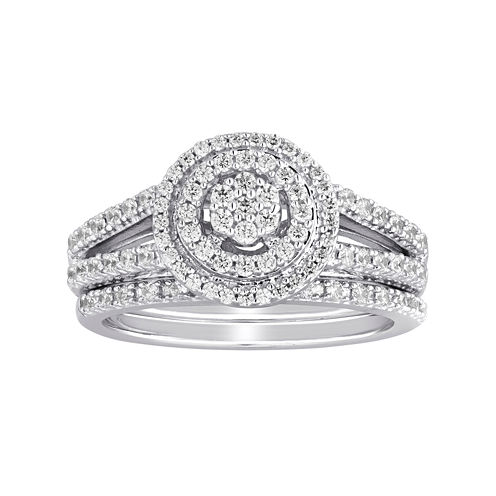 I Said Yes™ 5/8 CT. T.W. Diamond Double-Halo Platinaire® Bridal Ring Set