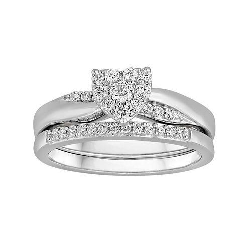 I Said Yes™ 1/3 CT. T.W. Diamond Heart-Shaped Platinaire® Bridal Ring Set