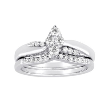 jcpenney.com | I Said Yes™ 3/8 CT. T.W. Diamond Marquise-Shaped Platinaire® Bridal Ring Set