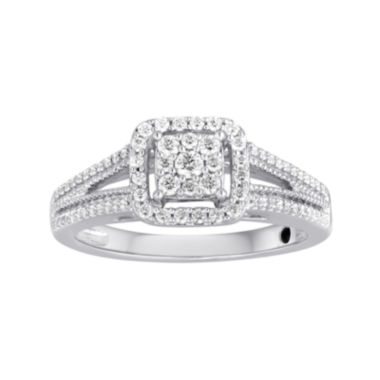 jcpenney.com | I Said Yes™ 3/8 CT. T.W. Diamond Framed Platinaire® Engagement Ring