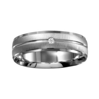 jcpenney.com | Mens 6mm Diamond-Accent 10K White Gold Wedding Band