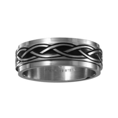 jcpenney.com | Mens 7.5mm Two-Tone Stainless Steel Weave Wedding Band