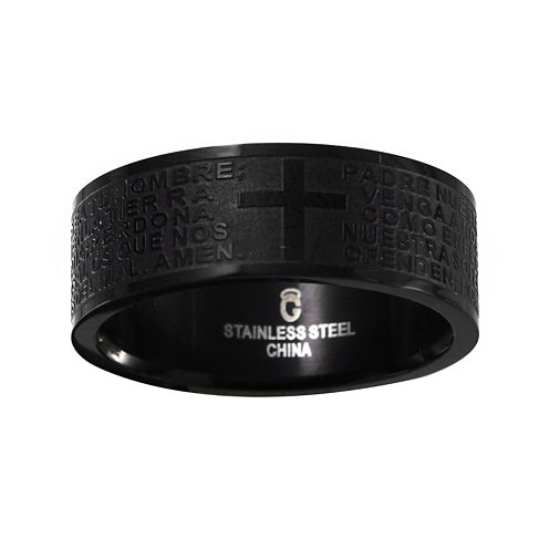 Mens 8mm Black Stainless Steel Cross and Lord's Prayer Wedding Band