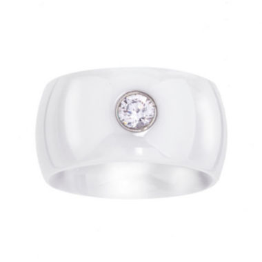 jcpenney.com | Cubic Zirconia White Ceramic Wide Wedding Band