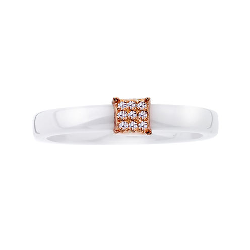 Diamond-Accent Two-Tone Square Wedding Band