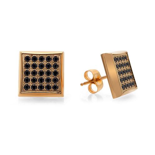 Mens 1/4 CT. T.W. Color-Enhanced Black Diamond Square Stud Earrings