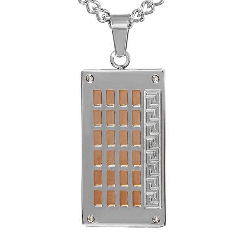 Mens Two-Tone Greek Key Dog Tag Necklace