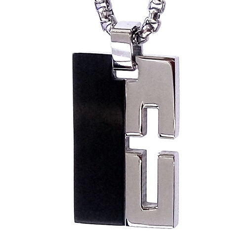 Mens Two-Tone Stainless Steel Cutout Cross Dog Tag Necklace