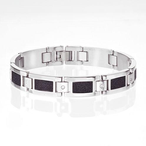 Mens Cubic Zirconia Two-Tone Link Bracelet