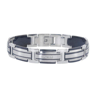 jcpenney.com | Mens 1/5 CT. T.W. Diamond Two-Tone Stainless Steel Link Bracelet