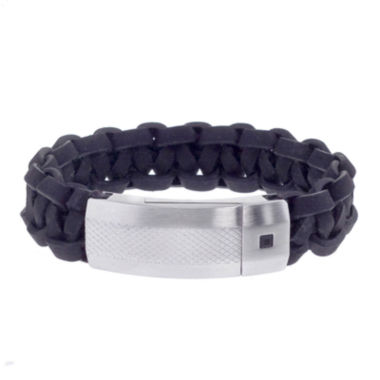 jcpenney.com | Mens Braided Black Leather and Stainless Steel ID-Style Bracelet