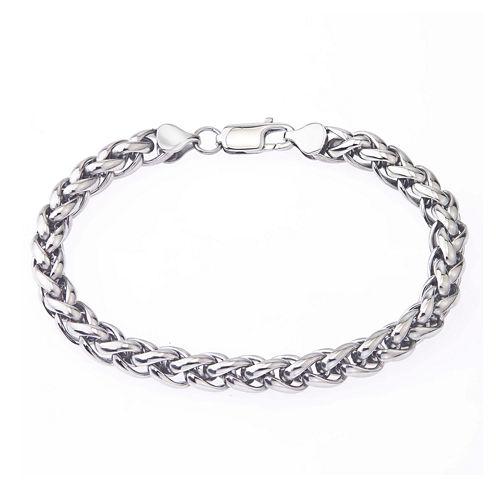 Mens Stainless Steel Wheat Bracelet