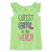 Okie Dokie® Ruffled Shoulder Graphic Tank Top - Toddler Girls 2t-5t