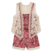 Knit Works® Belted Floral Romper with Lace Vest - Girls 7-16