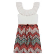 Kandy Kiss Belted Chevron-Print Dress - Girls 7-16