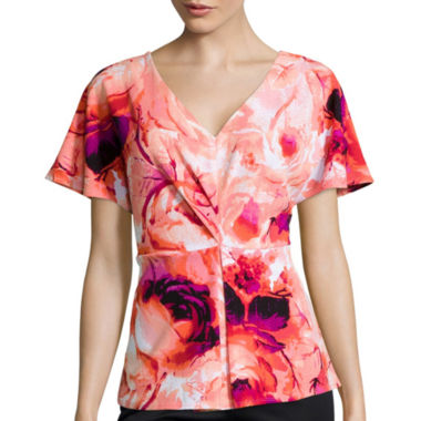 jcpenney.com | Worthington® Flutter-Sleeve Pleat-Front Top - Tall
