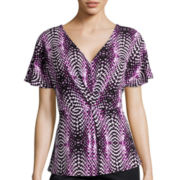Worthington® Flutter-Sleeve Pleat-Front Top - Tall
